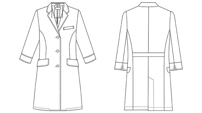 UN-0060 UNITE(ユナイト) 丸みのある襟元 ドクターコート・シングル(女性用) ハンガーイラスト・線画