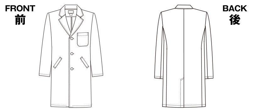 1530PO FOLK(フォーク) メンズ診察衣シングル(男性用) ハンガーイラスト・線画