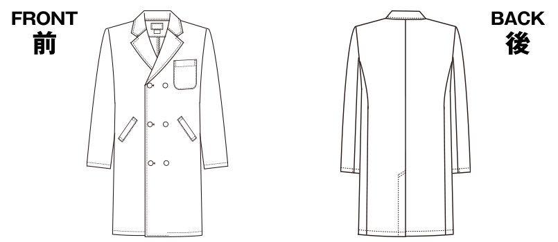 1531PO FOLK(フォーク) 診察衣 ドクターコート(男性用) ハンガーイラスト・線画