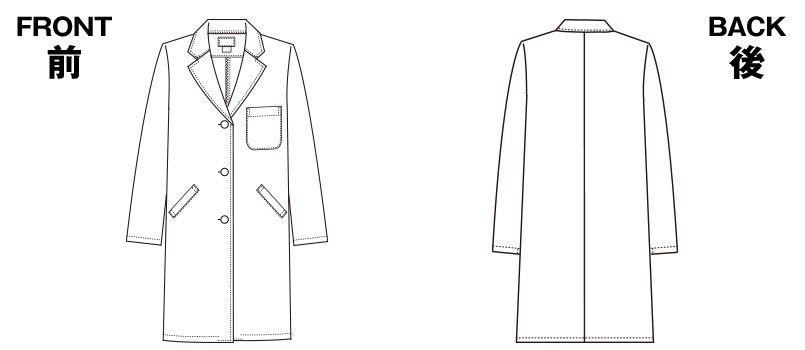 2530PO FOLK(フォーク) レディース診察衣シングル(女性用) ハンガーイラスト・線画