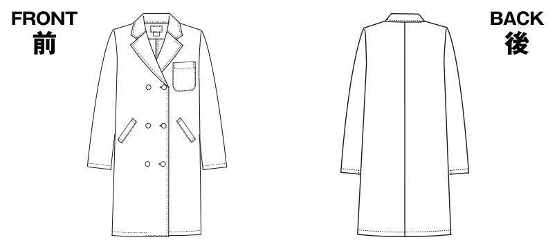 2531PO FOLK(フォーク) 診察衣ドクターコート(女性用) ハンガーイラスト・線画