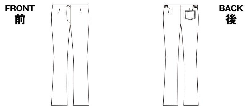2916 FOLK(フォーク) レディース ブーツカットパンツ(女性用) ハンガーイラスト・線画