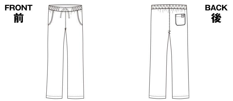 5018SC FOLK(フォーク) パントン メンズストレートパンツ 細身 総ゴム(男性用) ハンガーイラスト・線画