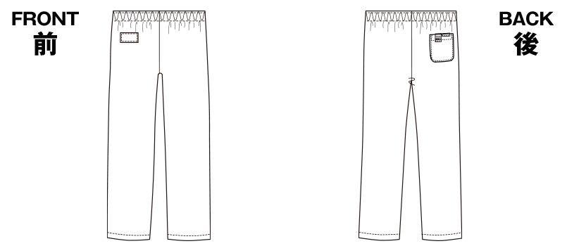 6003SC FOLK(フォーク) パントン ストレートパンツ(男女兼用)総ゴム ハンガーイラスト・線画