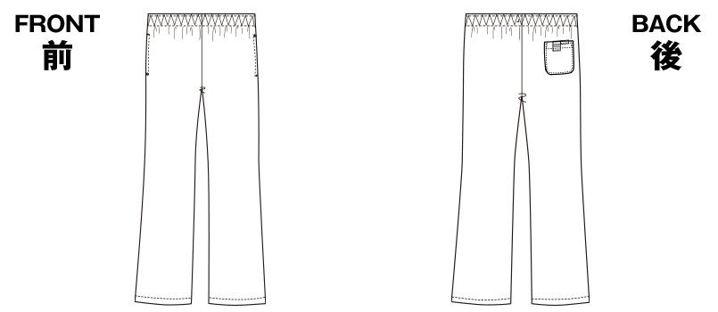 [在庫限り/返品交換不可]6005SC FOLK(フォーク) パントン レディースブーツカットパンツ 総ゴム(女性用) ハンガーイラスト・線画