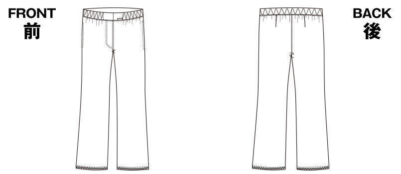 6007EW FOLK(フォーク)  レディースストレートパンツ 総ゴム(女性用) ハンガーイラスト・線画