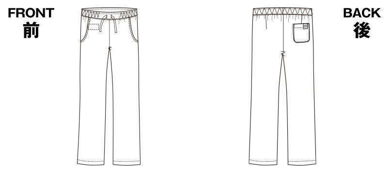 6012SC FOLK(フォーク) パントン レディースストレートパンツ 細身 総ゴム(女性用) ハンガーイラスト・線画