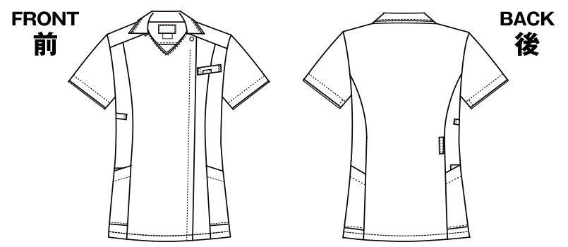 7024SC FOLK(フォーク) レディス ジップスクラブ(女性用) ハンガーイラスト・線画