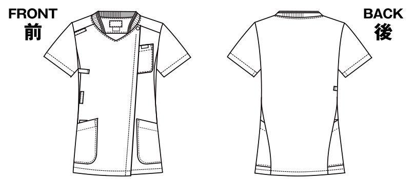7043SC FOLK(フォーク) ZIP SCRUB レディスジップスクラブ(女性用) ハンガーイラスト・線画