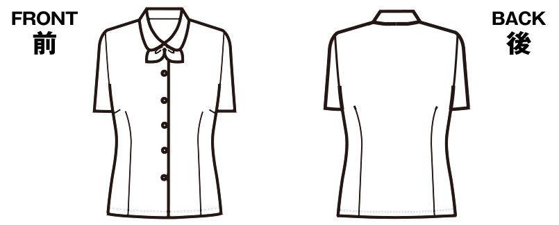 FB7088 nuovo(ヌーヴォ) 半袖ブラウス リボン付 ハンガーイラスト・線画