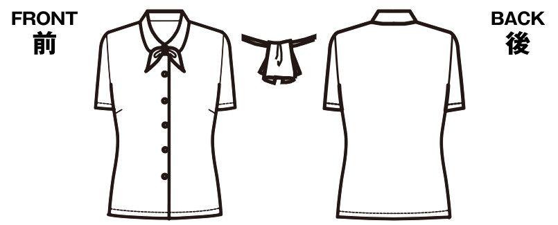 FB7091 nuovo(ヌーヴォ) 半袖ブラウス リボン2つ付 FDミニダイヤ ハンガーイラスト・線画