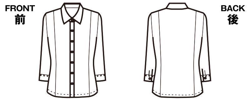 FB7097 nuovo(ヌーヴォ) [通年]七分袖ブラウス FDミニダイヤ ハンガーイラスト・線画