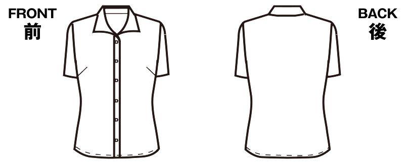 FB71039 nuovo(ヌーヴォ) 半袖ブラウス オープンカラー ハンガーイラスト・線画