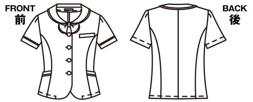 FB71184 nuovo(ヌーヴォ) [春夏用]オーバーブラウス カリキュロドライチェック ハンガーイラスト・線画