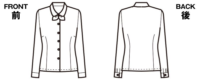 FB7545 nuovo(ヌーヴォ) [通年]長袖ブラウス リボン付 ハンガーイラスト・線画