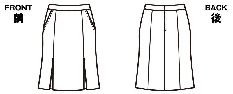 FS4569 nuovo(ヌーヴォ) [通年]マーメイドプリーツスカート 無地 ハンガーイラスト・線画