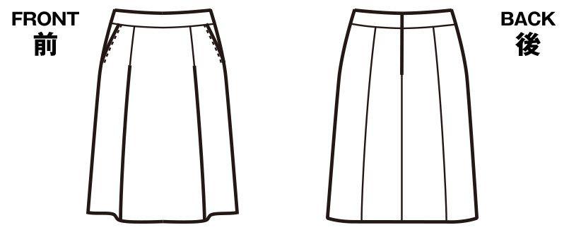 FS45728 nuovo(ヌーヴォ) [通年]ソフトプリーツスカート 無地 ハンガーイラスト・線画
