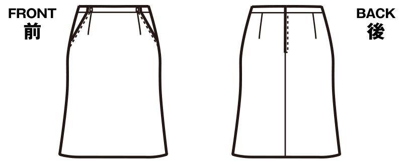 FS45738 nuovo(ヌーヴォ) [通年]マーメイドスカート(アジャスター付) 無地 ハンガーイラスト・線画