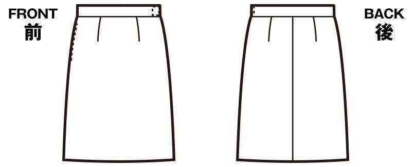 FS45801 nuovo(ヌーヴォ) [通年]ウエストゴムAラインスカート 無地 ハンガーイラスト・線画