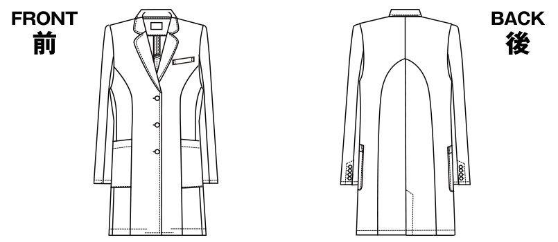 HI401 ワコール レディースドクターコート シングル(女性用) ハンガーイラスト・線画