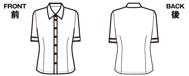 SB7002 nuovo(ヌーヴォ) 半袖ブラウス TC[高い透け防止性] ハンガーイラスト・線画