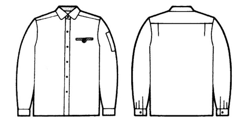 自重堂 24105 低発塵製品制電レディース長袖シャツ ハンガーイラスト・線画