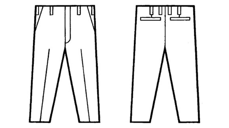 自重堂 3310 エコ製品制電パンツ(JIS T8118適合) ハンガーイラスト・線画