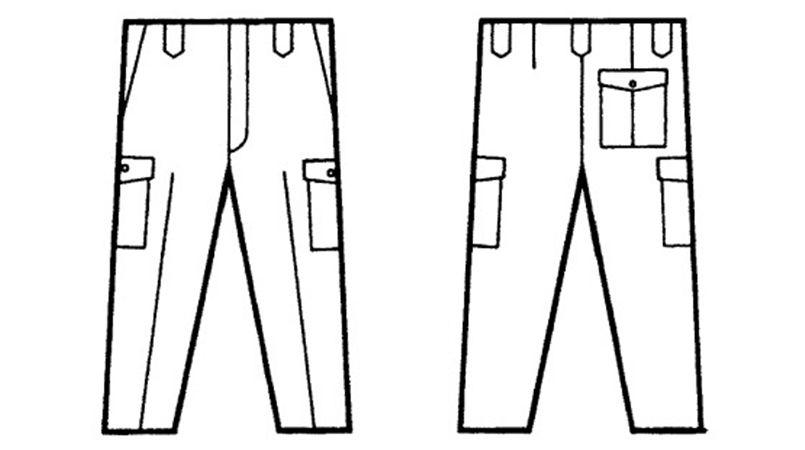 自重堂 3320 エコ製品制電カーゴパンツ(JIS T8118適合) ハンガーイラスト・線画