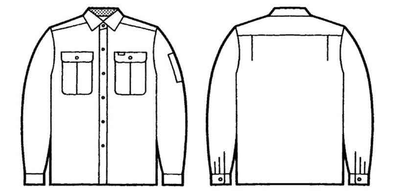 自重堂 34004 形態安定 長袖シャツ ハンガーイラスト・線画