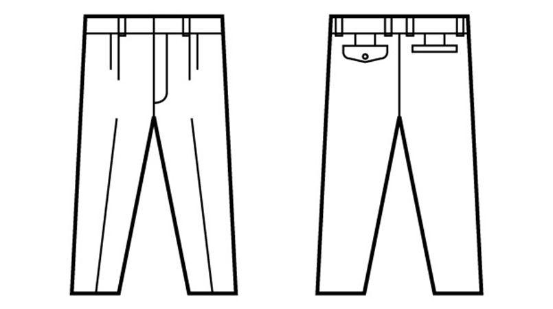 自重堂 41601 綿100%ツータックパンツ ハンガーイラスト・線画