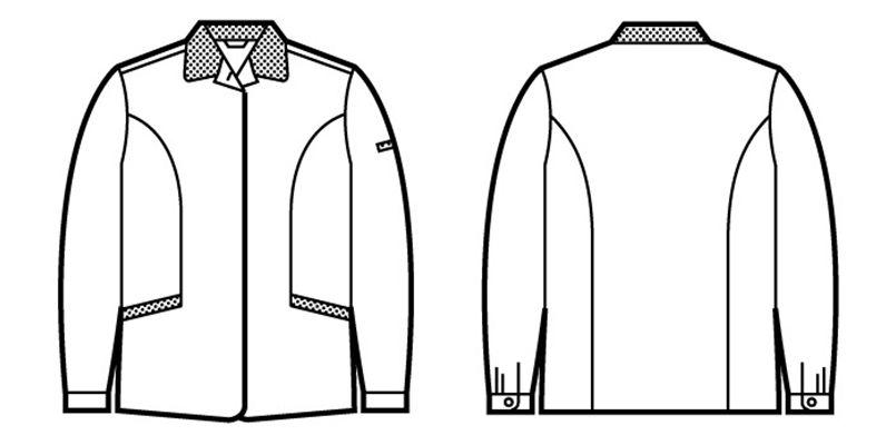 自重堂 43805 エコ 5バリュー スモック(製品制電JIS T8118適合) ハンガーイラスト・線画