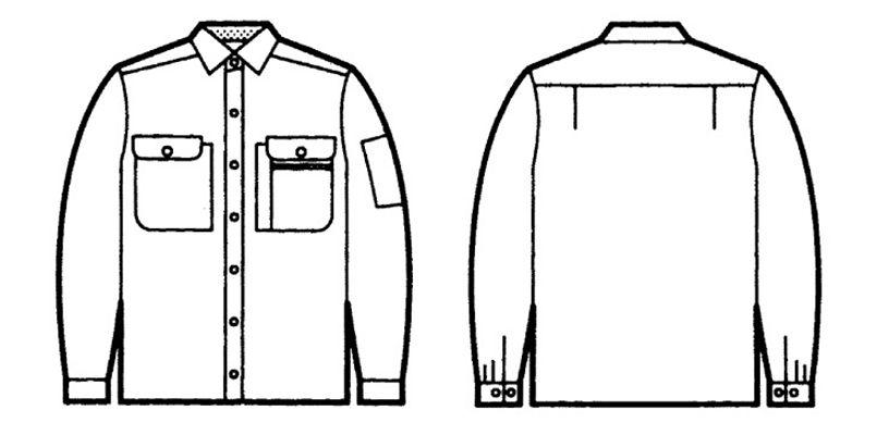 自重堂 44104 [春夏用]製品制電長袖シャツ(JIS T8118適合) ハンガーイラスト・線画