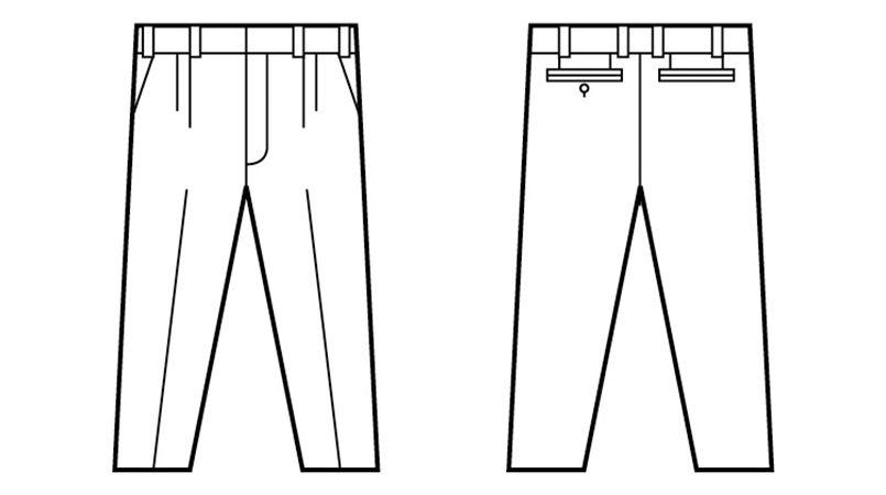 自重堂 45301 [春夏用]製品制電清涼ツータックパンツ(JIS T8118適合) ハンガーイラスト・線画