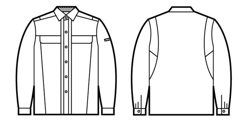 自重堂 45304 製品制電清涼 長袖シャツ(JIS T8118適合) ハンガーイラスト・線画