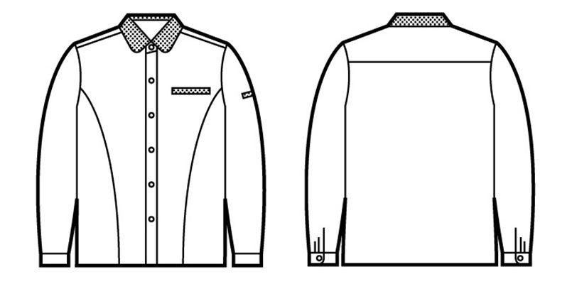 自重堂 45305 製品制電清涼 レディース長袖シャツ(JIS T8118適合) ハンガーイラスト・線画