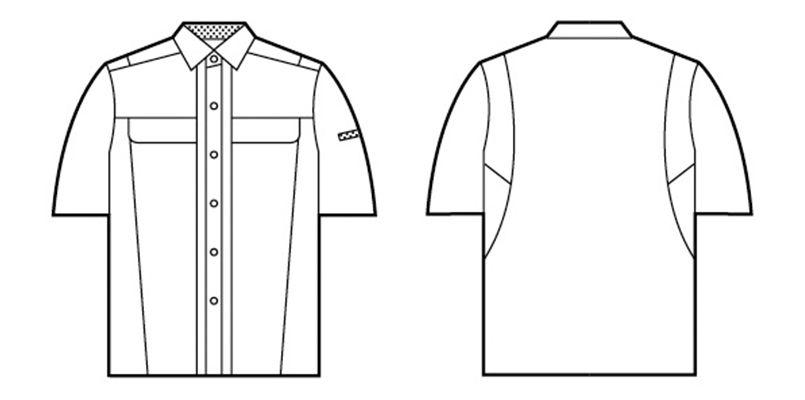 自重堂 45314 [春夏用]製品制電清涼半袖シャツ(JIS T8118適合) ハンガーイラスト・線画