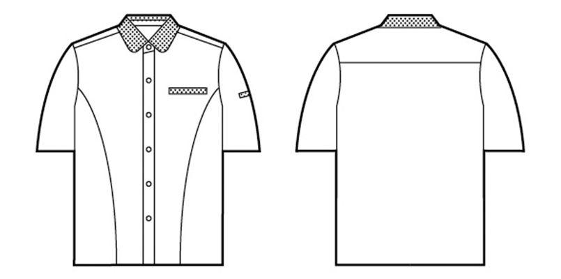 自重堂 45315 [春夏用]製品制電清涼レディース半袖シャツ(JIS T8118適合) ハンガーイラスト・線画