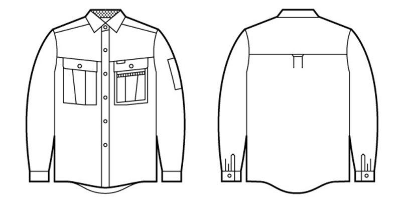 自重堂 46004 形態安定長袖シャツ ハンガーイラスト・線画