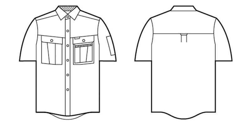 46014 自重堂 形態安定 半袖シャツ ハンガーイラスト・線画