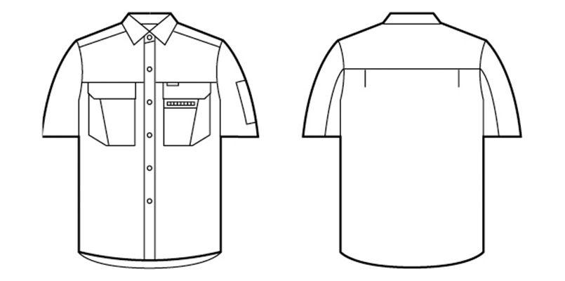 自重堂 46214 [春夏用]制電ソフトサマーツイル 半袖シャツ ハンガーイラスト・線画