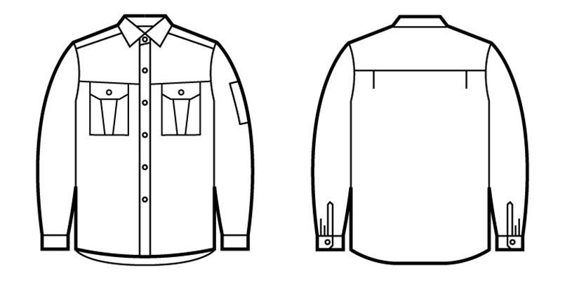 自重堂 46904 エコ制電長袖シャツ ハンガーイラスト・線画