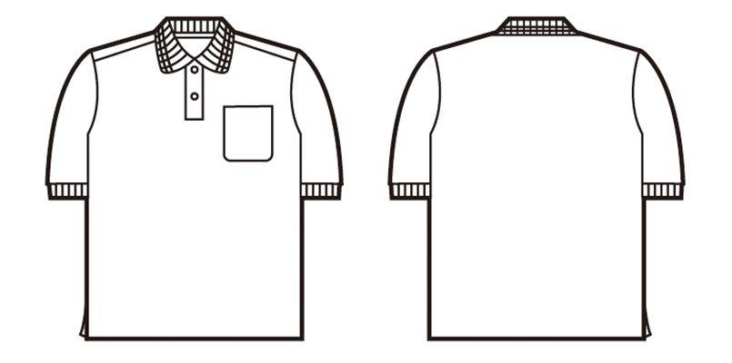 自重堂 47614 吸汗速乾半袖ポロシャツ(ポケ付き) ハンガーイラスト・線画