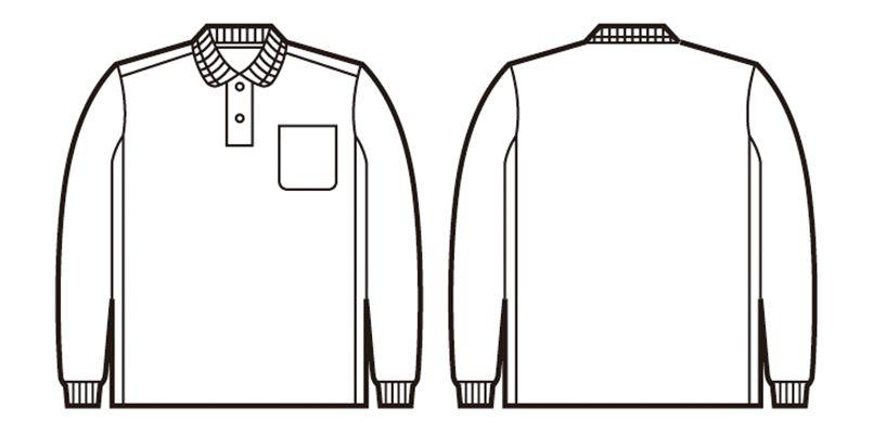 自重堂 47654 吸汗速乾長袖ポロシャツ[胸ポケット有り] ハンガーイラスト・線画