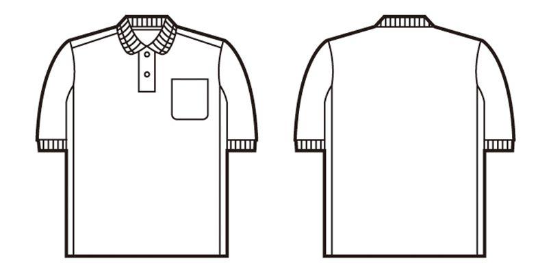 自重堂 47664 [春夏用]吸汗速乾半袖ドライポロシャツ(胸ポケット付き) ハンガーイラスト・線画