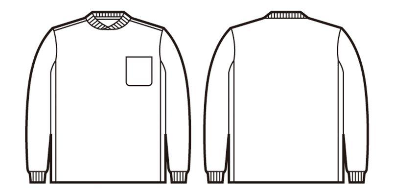 自重堂 47674 吸汗速乾長袖Tシャツ (胸ポケット有り) ハンガーイラスト・線画