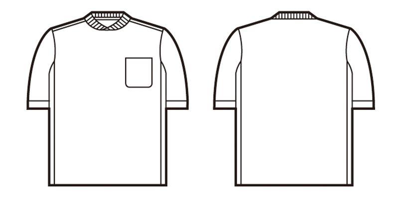 自重堂 47684 吸汗速乾半袖Tシャツ (胸ポケット有り) ハンガーイラスト・線画