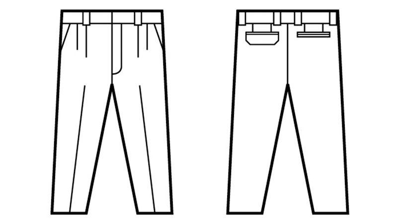 自重堂 47801 [春夏用]エコ 5バリュー ツータックパンツ(JIS T8118適合) ハンガーイラスト・線画