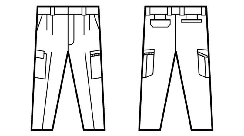 自重堂 47802 [春夏用]エコ 5バリュー ツータックカーゴパンツ(JIS T8118適合) ハンガーイラスト・線画