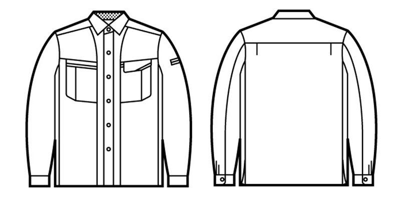 自重堂 47804 エコ 5バリュー長袖シャツ(JIS T8118適合) ハンガーイラスト・線画