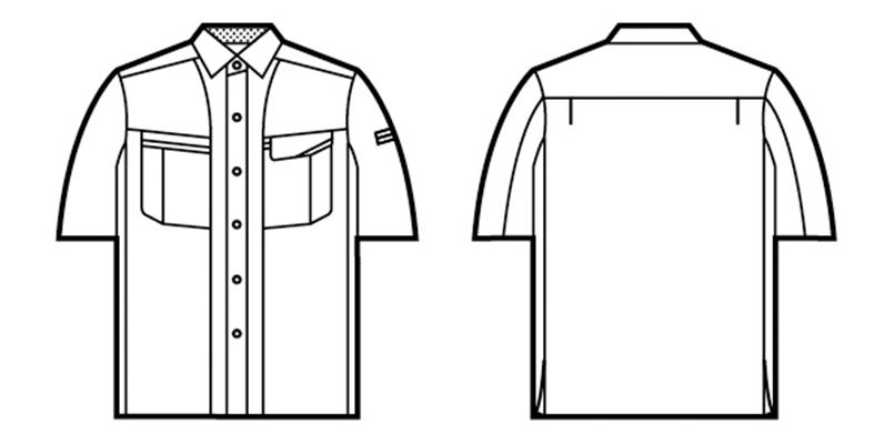 自重堂 47814 [春夏用]エコ 5バリュー 半袖シャツ(JIS T8118適合) ハンガーイラスト・線画